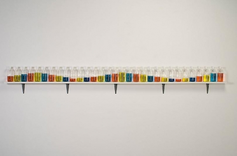 """ALT=""""Tony Feher, (Singer of Many), 2008, 31 glass bottles with screw caps, water, food color and painted wood shelf"""""""