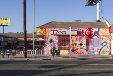 "ALT=""Sarah Cain, Installation view of hey babe take a walk on the wild side, 2015, Paint and mixed media on the building street facade"""