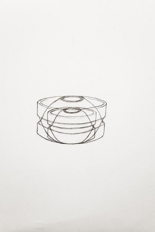 A Drawing of Two Heath Chowder Bowls (two sizes), Drawn Both Right Side Up and Up Side Down, 2013,