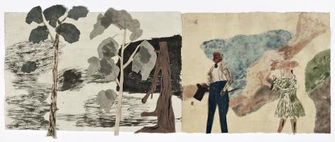 """Jockum Nordström, """"Nightwalker"""", 2019, Watercolor, graphite and crayon on paper"""