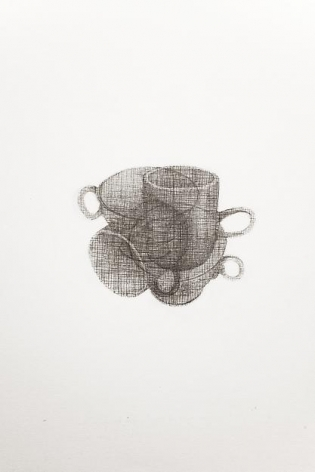 A Drawing of a Cup and a Mug, Both Drawn Twice, 2013,