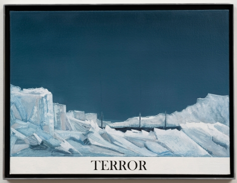 Rob Reynolds  Northwest Passage (HMS Terror), 2017  Oil, alkyd and acrylic polymer paint on canvas in welded aluminum artist's frame  Framed Dimensions:  12 3/4 x 16 3/4 inches