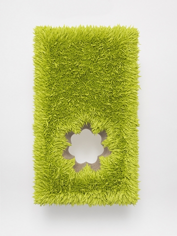 "ALT=""Donald Moffett, Lot 111916 (fleur, chartreuse), 2016, Oil on linen, wood panel, steel"""