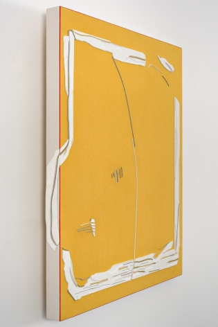 "ALT=""Rodrigo Cass, Amarelo Liberto (Yellow Liberated), 2018, White concrete and tempera on linen"""