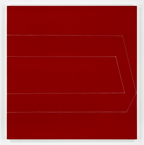 Kate Shepherd, half box open eyed straight on red, 2019, Oil and enamel on panel