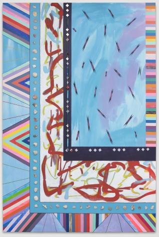 sarah cain, painting, sky and sea, 2017, blue, rainbow, abstract