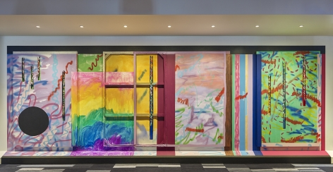 """ALT=""""Sarah Cain, Installation view of Mountain Song, 2017, Wall mural"""""""