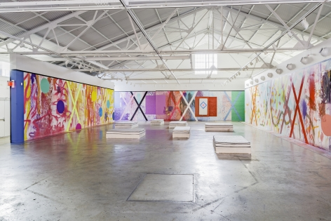 "ALT=""Sarah Cain, Installation view of The Imaginary Architecture of Love, 2015, Wall mural in large museum exhibition space"""