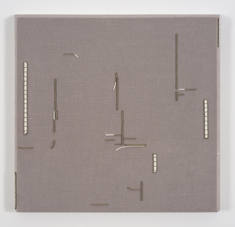 "ALT=""Rodrigo Cass, Sen Titulo (provisorio), 2018, Concrete, white concrete, and tempera on linen"""