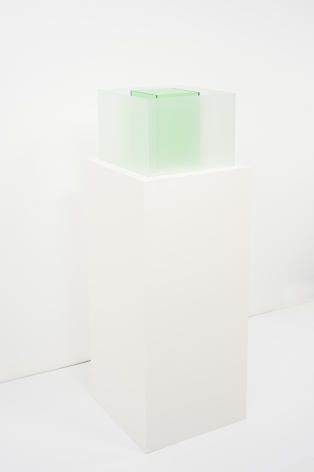 Larry Bell, Untitled Maquette (True Sea Salt / Kelp), 2018, Laminated glass