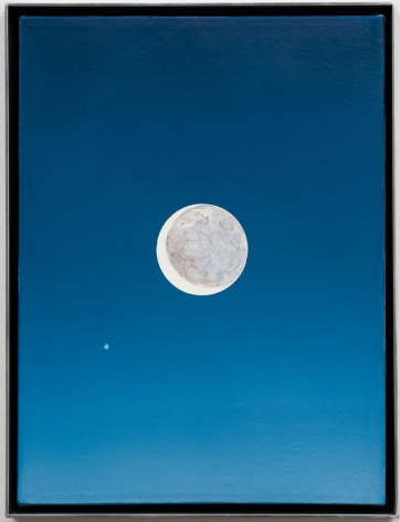 """ALT=""""Rob Reynolds, Moon and Jupiter, 2018, Oil, alkyd and acrylic polymer paint on canvas in welded aluminum artist's frame"""""""
