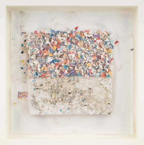 """ALT=""""Leonardo Drew, Number 94SD, 2021, Plaster and paint on paper"""""""