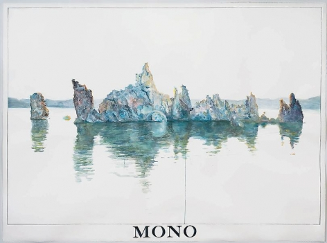 """ALT=""""Rob Reynolds, South Tufa, Mono Lake at 7:12 AM, June 18th, 2013, Watercolor and gouache on paper in artists frame"""""""