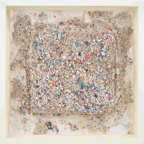 """ALT=""""Leonardo Drew, Number 90SD, 2021, Plaster and paint on paper"""""""