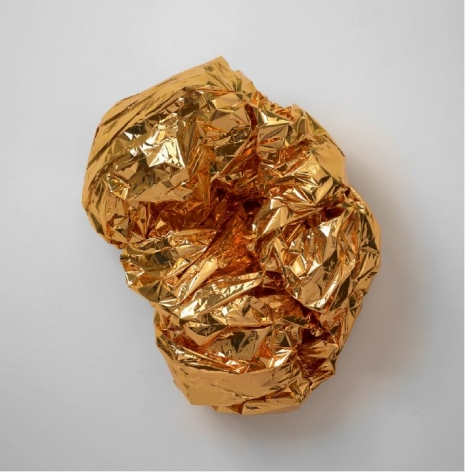 "Tony Feher, ""Calico,"" 2014, Gold tone mylar space blanket and binder clip"