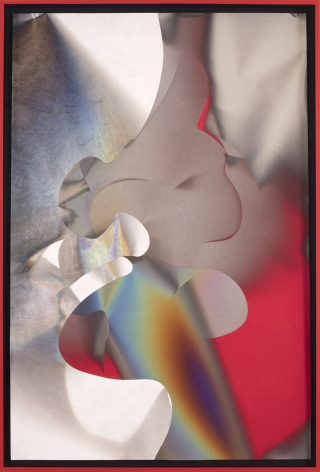 Larry Bell, CS 11.26.16, 2016, Mixed media with aluminum and silicon monoxide on red Hiromi paper mounted on canvas
