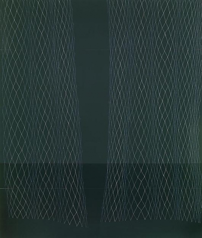 , Dark Green Lace Curtain, Slight Cupping, 2008