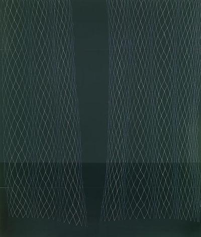 , Dark Green Lace Curtain, Slight Cupping, 2008