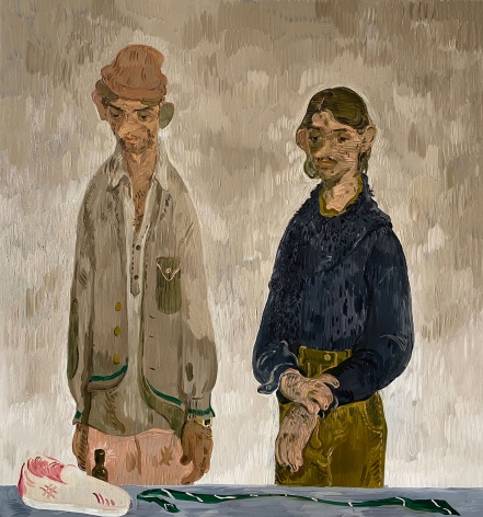 Salman Toor Two Men with Vans, Tie and Bottle, 2019