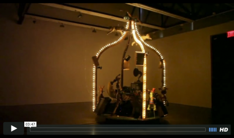 Moving carousel with synchronized audio and light