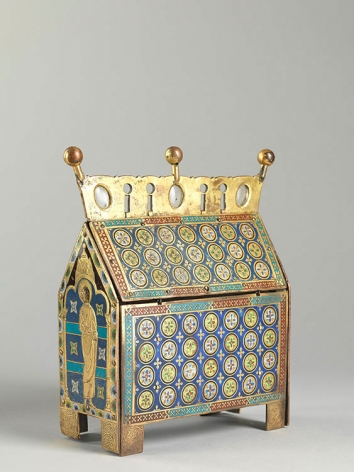 An enamelled casket showing the Crucifixion, c. 1200