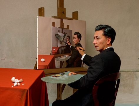 Yasumasa Morimura, Self-Portraits through Art History (Magritte / Triple Personality), 2016