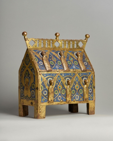An enamelled reliquary casket with figures of angels, c. 1220-40