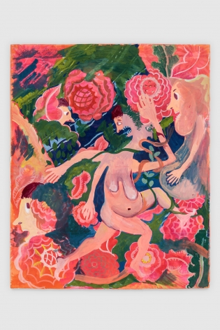 Christina Forrer, Woman on Pink Floral Background, 2018
