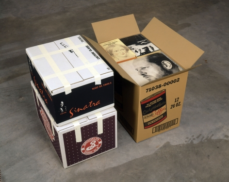 Steve Wolfe, Untitled (Chock Full O'Nuts/Sinatra/Brown Ale Cartons), 1993