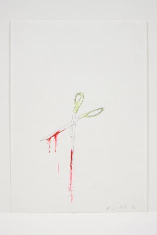 Ragnar Kjartansson, Untitled (bad drawing of scissors with blood), 2006