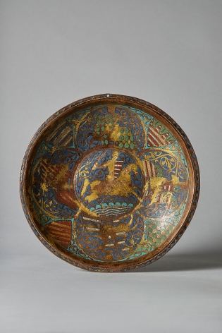 An enamelled gemellion with a horse and rider, second half of the 13th century