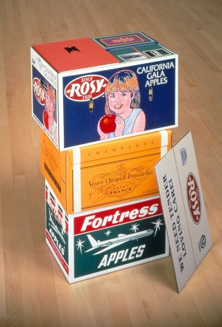 Steve Wolfe, Untitled (Rosy/Veuve Clicquout/Fortress Apple Cartons), 1994-1996