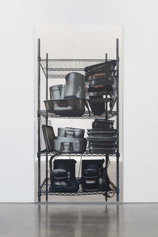 Michelangelo Pistoletto Scaffali – contenitori metallici e motori, 2015