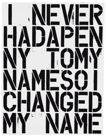 Christopher Wool & Richard Prince, My Name, 1988