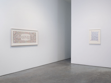 Prints and Editions  Installation view  January 25 – February 23, 2019  Luhring Augustine, New York  Pictured from left: Tom Friedman, Jeremy Moon