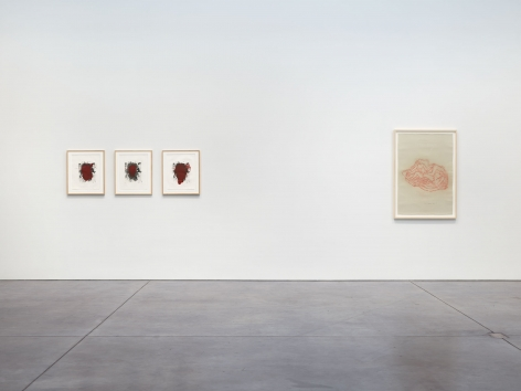 Prints and Editions  Installation view  January 25 – February 23, 2019  Luhring Augustine, New York  Pictured from left: Christopher Wool, Tunga