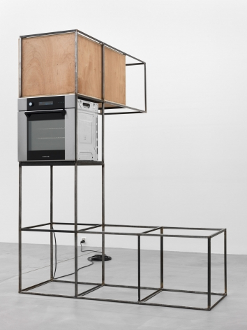 Oscar Tuazon, steel, plywood, oven, 2011/2012