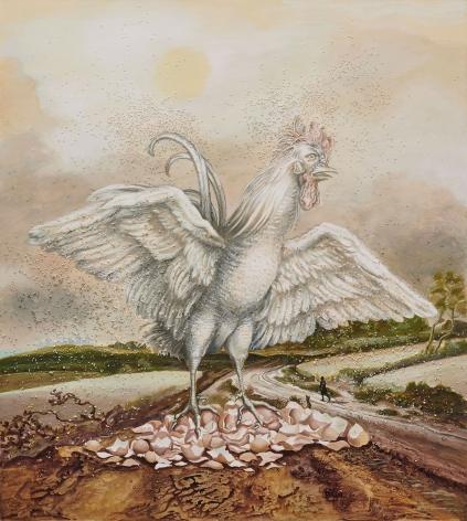 Allison Katz, Cock on Eggshells, 2019