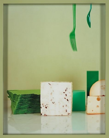 Elad Lassry Truffle Goat Cheese, Emmentaler, Fork and Spoon, 2010