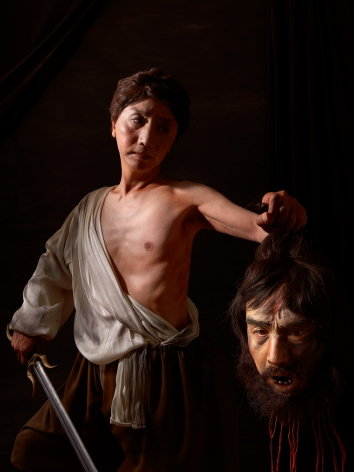 Yasumasa Morimura, Two Caravaggios/David painting Goliath, 2016