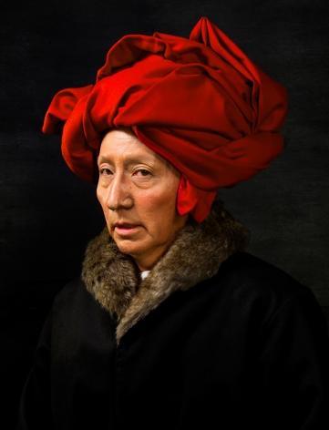 Yasumasa Morimura, Van Eyck in a Red Turban,2016