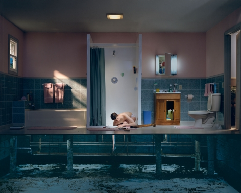 Gregory Crewdson, Untitled (boy with hand in drain), 2001-2002