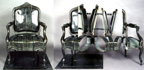 Fauteuil Coupé Charnières, 1998, Green patinated bronze cast of armchair, vertically sliced and re-welded with hinges, incorporated on base. Interactive (image of work is shown closed and open)