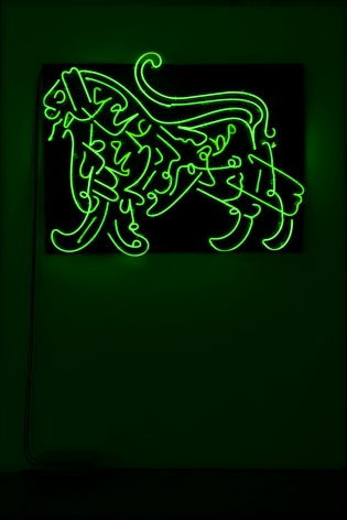 Oxymoron, 2010 (Detail), Green neon diptych