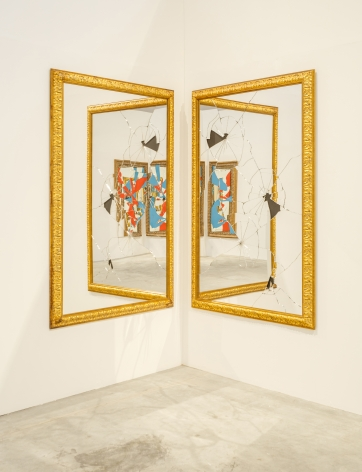 Two Less One, 2009, Gilded wood, mirror