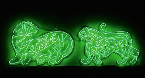 Oxymoron, 2010, Green Neon Diptych