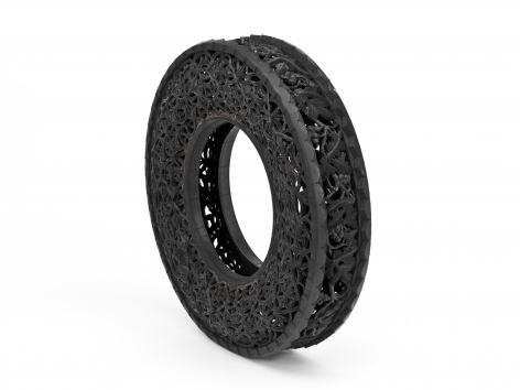 Untitled, 2007, Hand carved tire