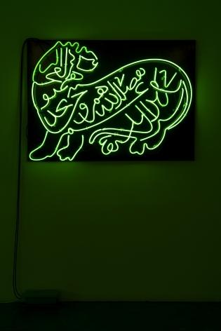 Oxymoron, 2010(Detail), Green neon diptych