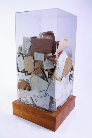 ARMAN, Sol Lewitt's Refuse, 1970, Accumulation of studio refuse in Plexiglas box 48 x 24 x 24 in.  (122 x 61 x 61 cm)
