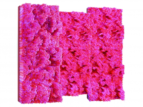 Straws, 2015, fuschia, red, pink and transparent plastic drinking straws on wooden panels and metallic frame